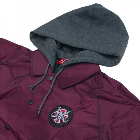 Thrasher bunda THRASHER PENTAGRAM CROSS HOODED WINDBREAKER JACKET- maroon