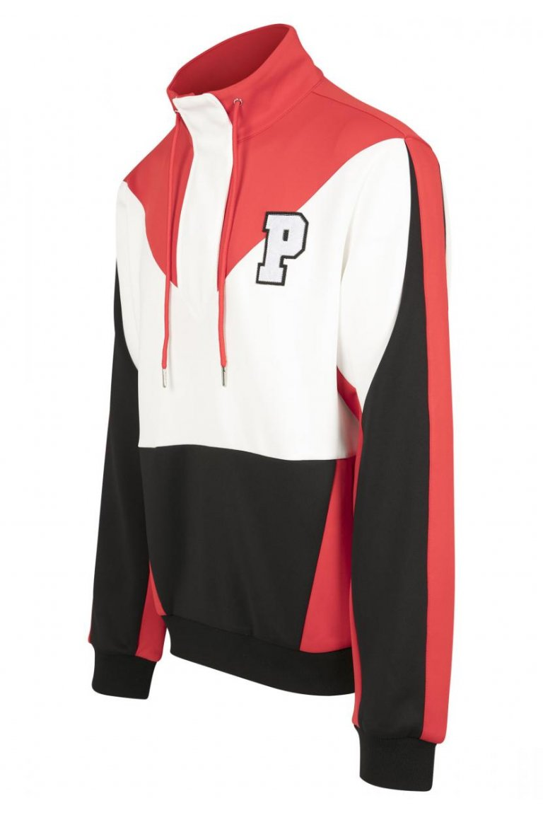 Pink Dolphin bunda BOLD TRACK HALF ZIP- black/red