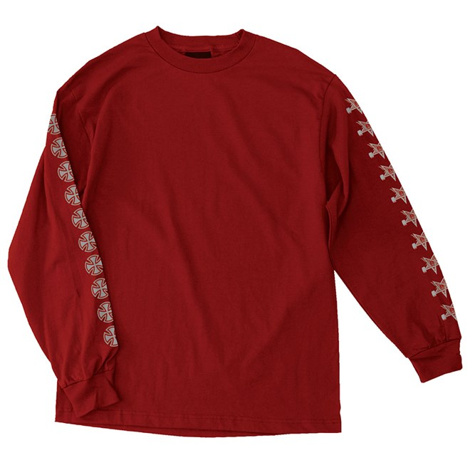 Thrasher tričko THRASHER PENTAGRAM CROSS L/S T-SHIRT- cardinal red