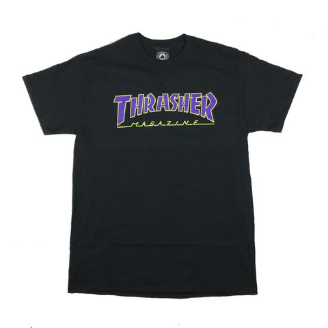 Thrasher tričko OUTLINED S/S - black/violet