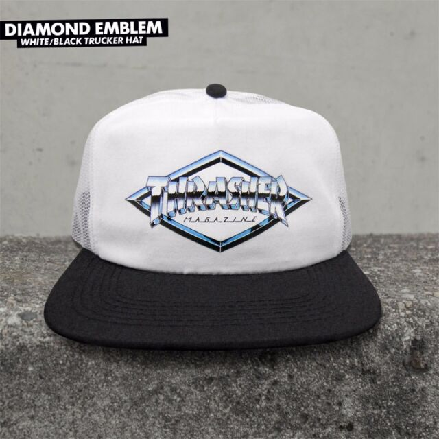 Thrasher snapback DIAMOND EMBLEM TRUCKER HAT WHITE