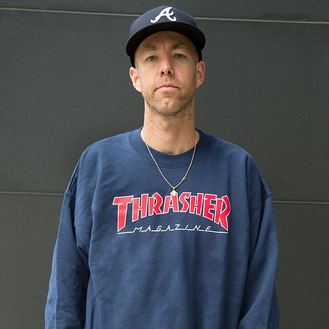 Thrasher mikina OUTLINED LOGO CREW-navy