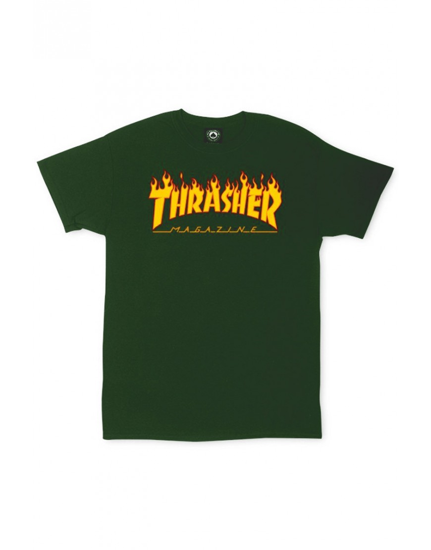 Thrasher tričko Flame - Forest Green