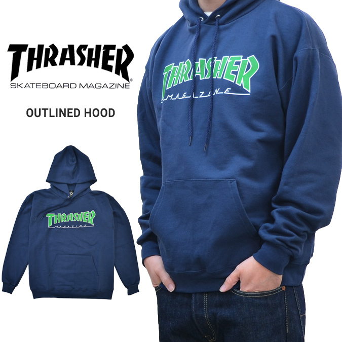 Thrasher mikina OUTLINED HOOD- navy
