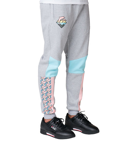 Pink Dolphin nohavice  WAVEYARD SWEATPANTS- heather grey