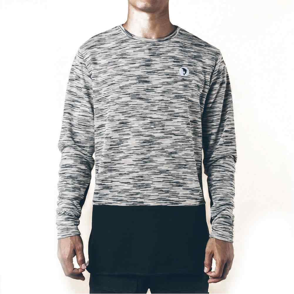 Pink Dolphin MARBLE WEAVE LIGHTWEIGHT SWEATER GRAY