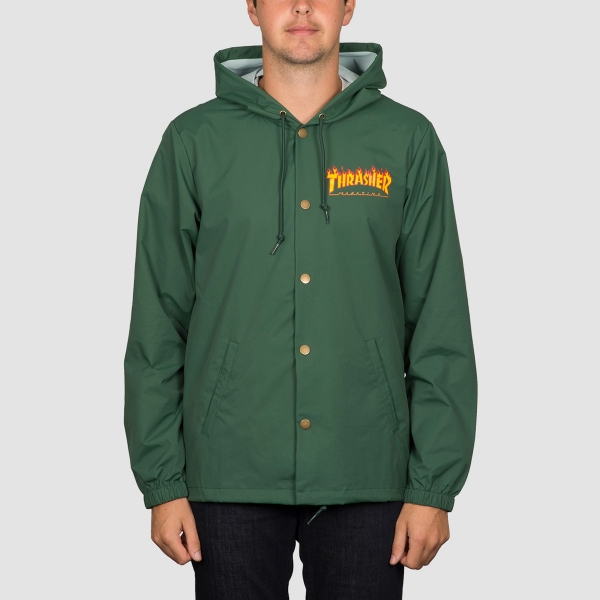 Thrasher bunda FLAME LOGO COACH JACKET-forest green