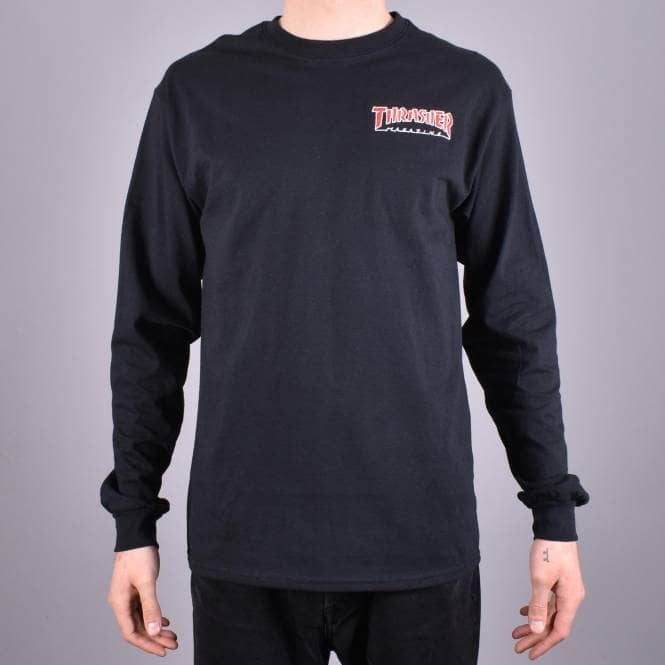 Thrasher tričko EMBROIDERED OUTLINED LONGSLEEVE BLACK