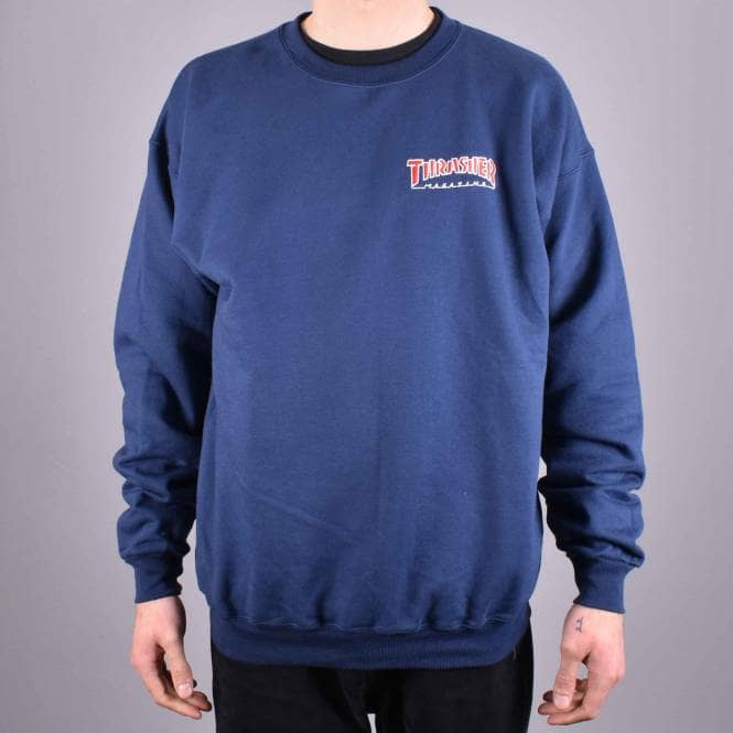 Thrasher mikina EMBROIDERED OUTLINED CREW NAVY