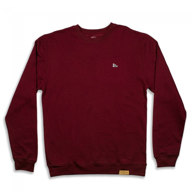 Primitive mikina PENNANT LOGO PATCH CREWNECK- burgundy