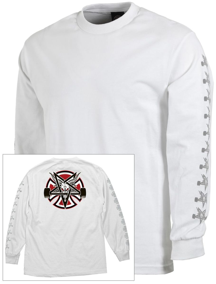 Thrasher tričko THRASHER PENTAGRAM CROSS L/S T-SHIRT- white