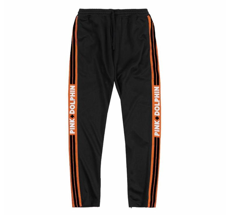 Pink Dolphin nohavice SCRIPT TRACK PANT- black/orange
