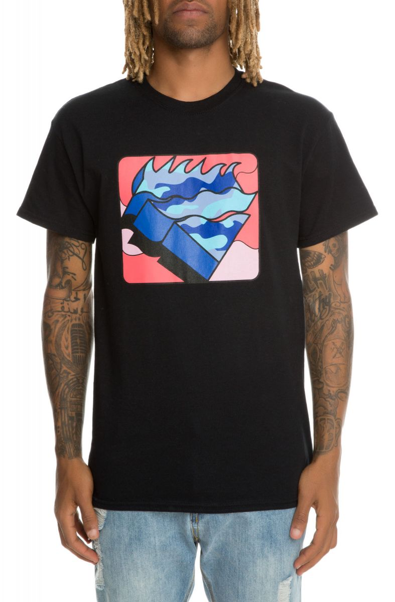 Pink Dolphin tričko FRAGMENT WAVES TEE BLACK