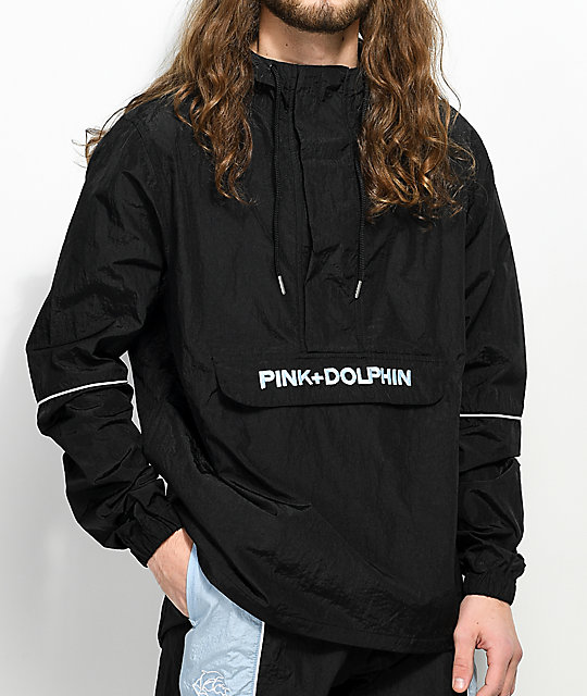 Pink Dolphin bunda WAVE CREW BOLT BLACK ANORAK- black