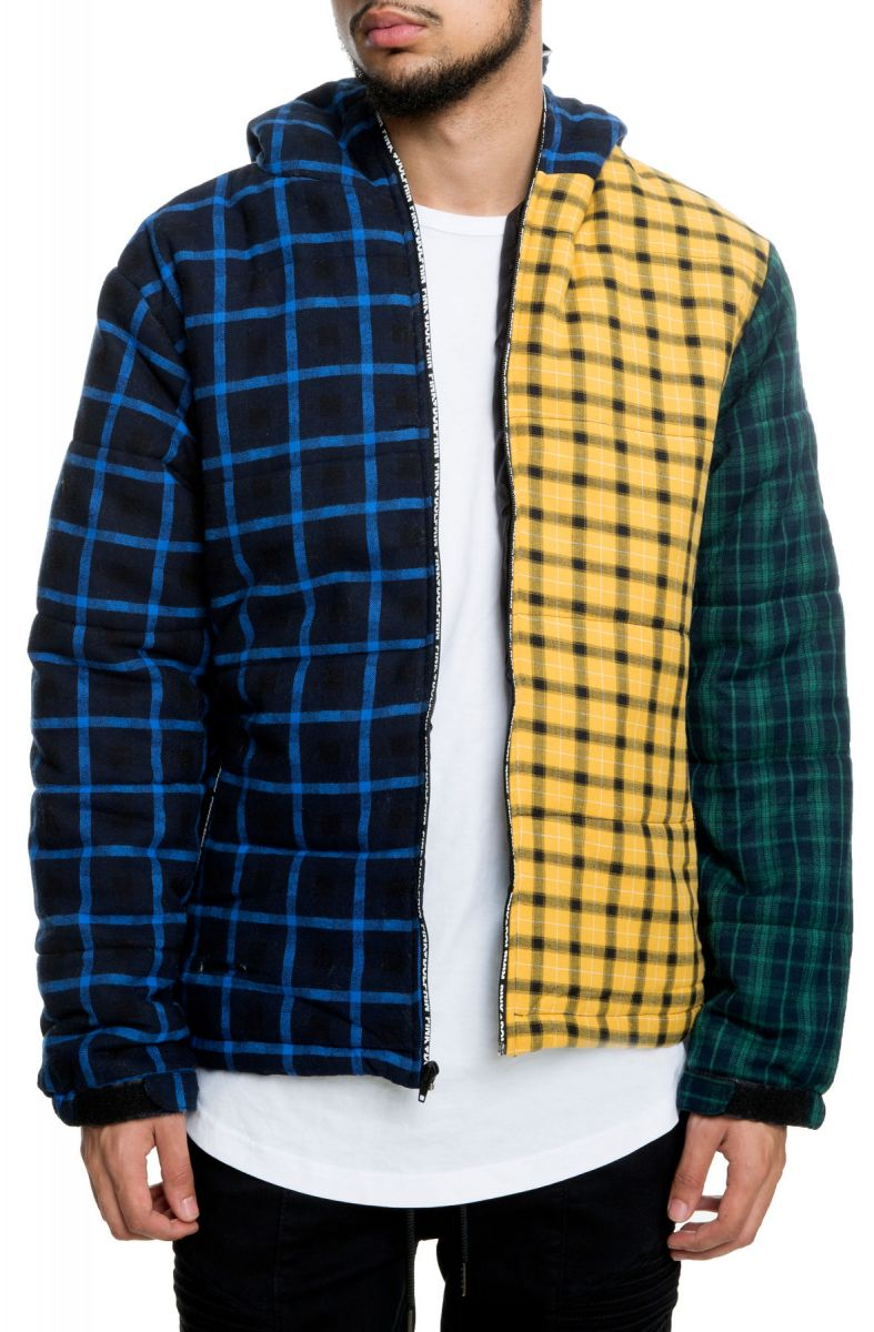 Pink Dolphin bunda TRIPPLE PLAID PUFFER- multi