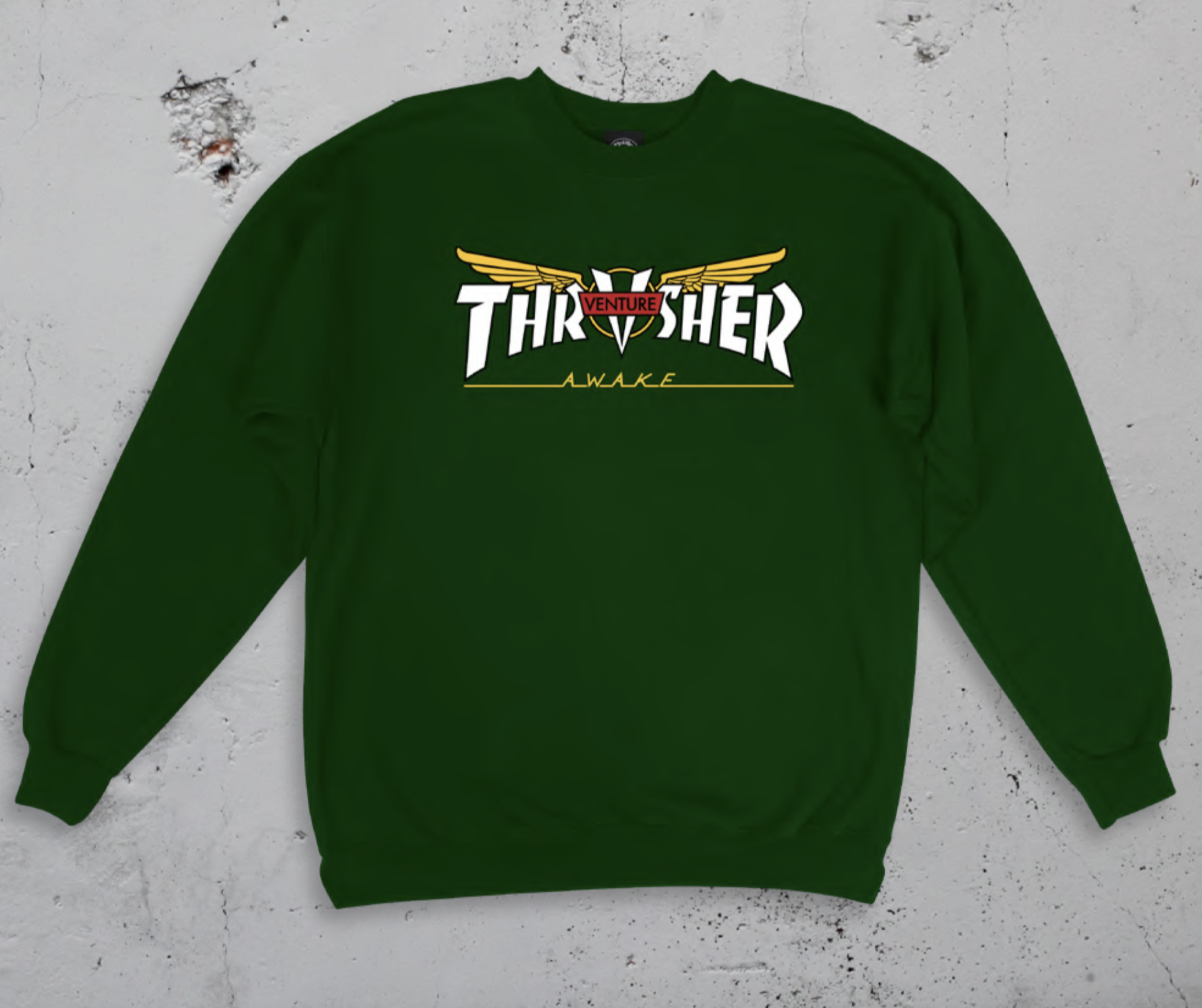 Thrasher mikina VENTURE COLLAB CREW - FOREST GREEN