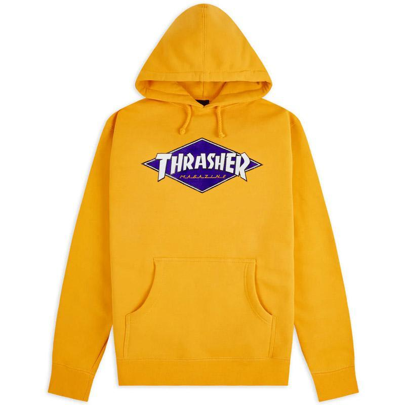 THRASHER  MIKINA DIAMOND LOGO HOOD - YELLOW