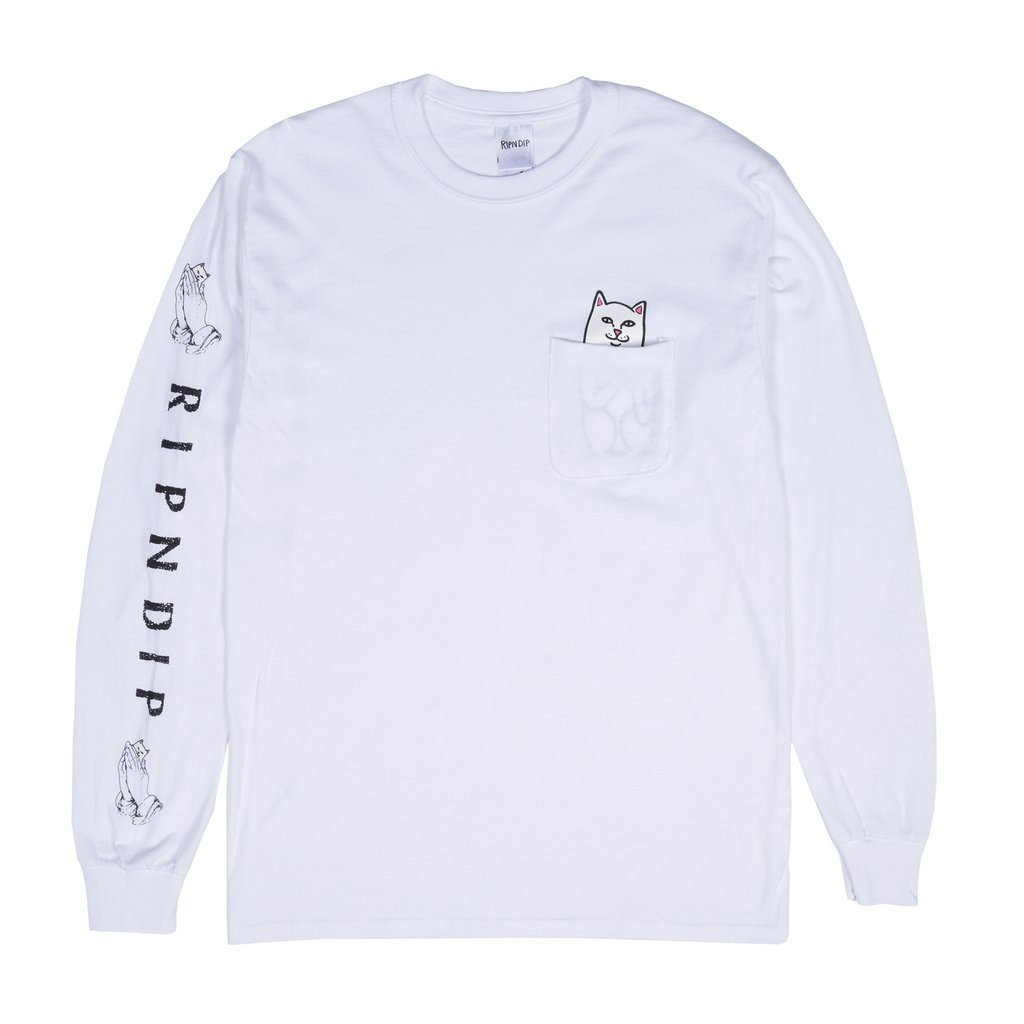 RIPNDIP tričko Lord Nermal Pocket Tee Long Sleeve - white