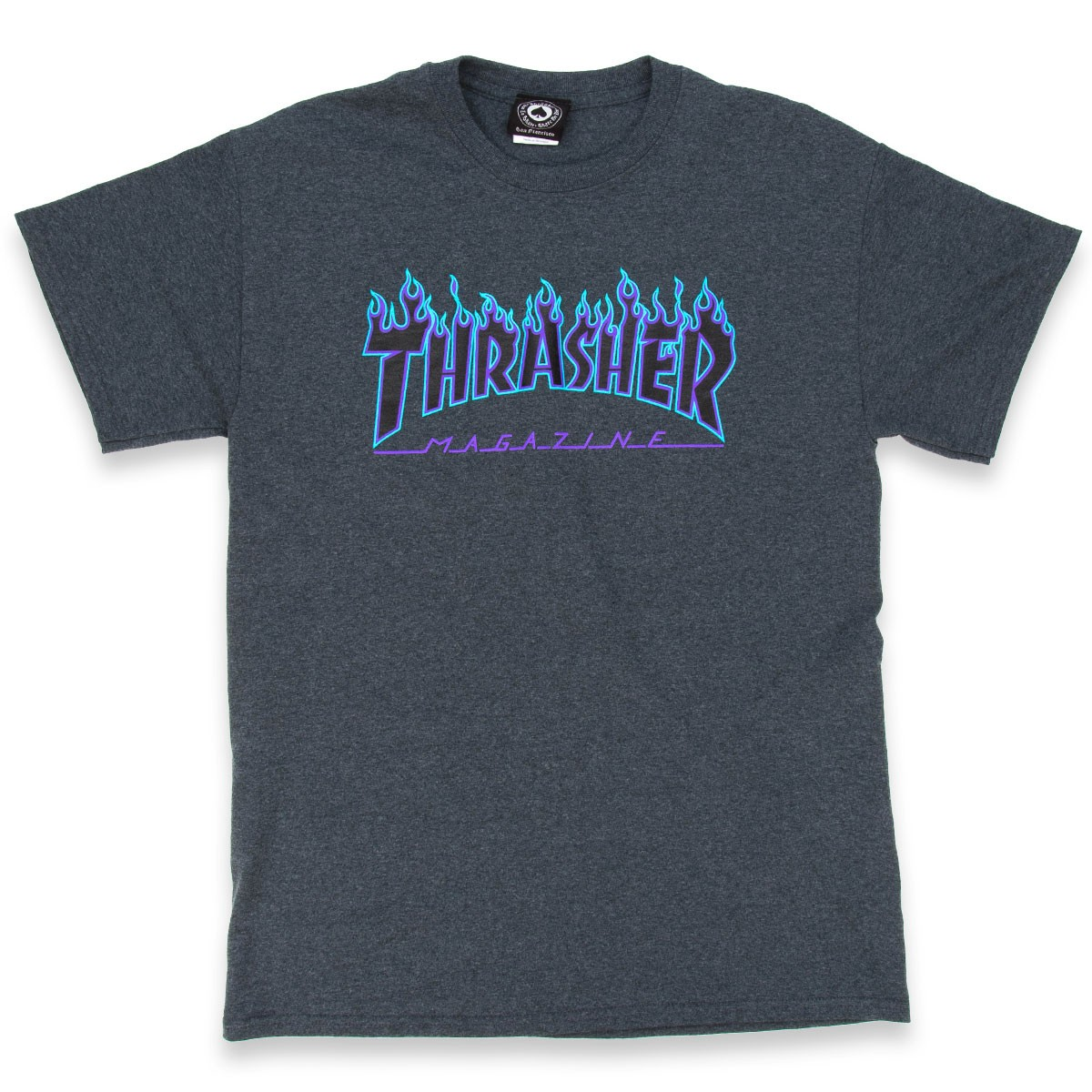 Thrasher tričko Flame Logo Heather grey