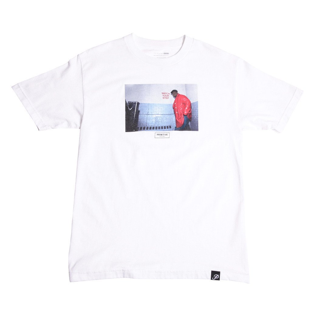"Primitive tričko - ""BIGGIE  WATCH YOUR STEP TEE "" white"