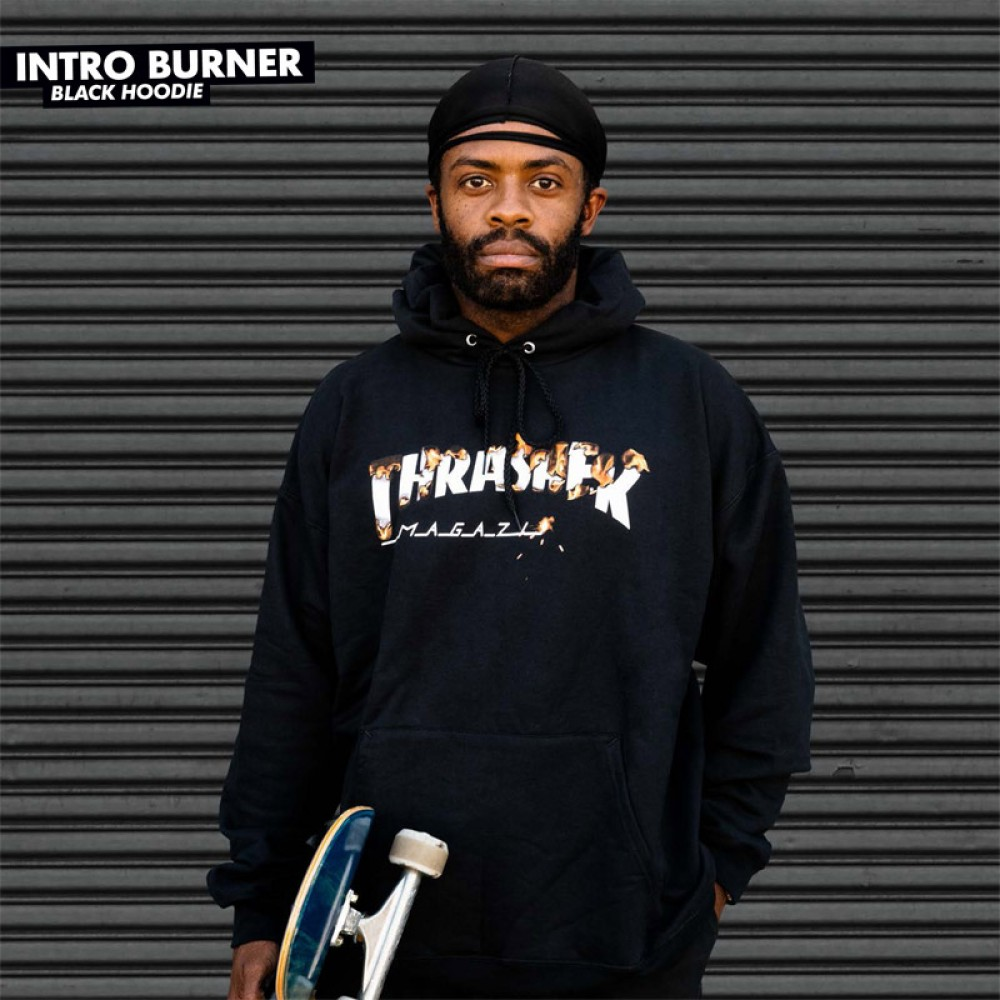 Thrasher mikina INTRO BURNER HOOD BLACK