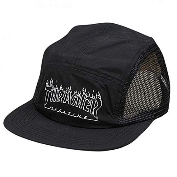 Thrasher šiltovka FLAME OUTLINED 5 PANEL- black